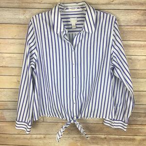 Chico's Sz 3 XL White Blue Stripe Tie Front Blouse
